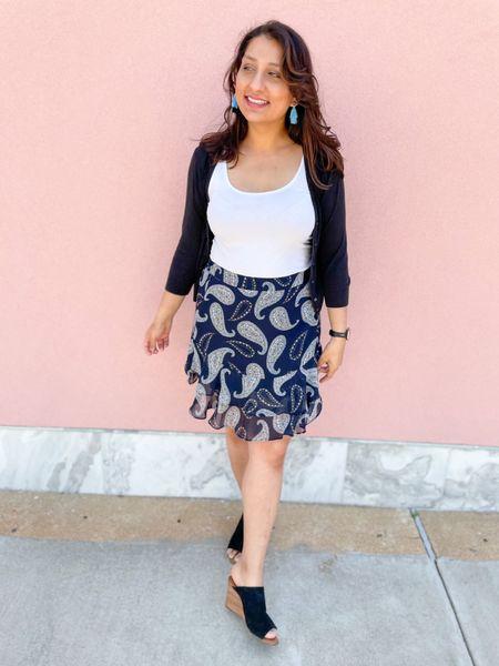 Blue earrings & paisley skirt.   #LTKstyletip #LTKunder50 #LTKSeasonal