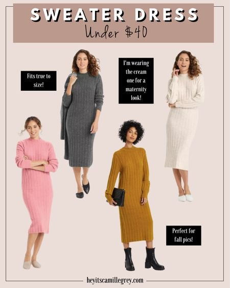 Target Sweater Dress under $40 Fits true to size Cream can be worn for fall maternity outfit I am loving the mustard one for fall! Gray and pink   #LTKSeasonal #LTKunder50 #LTKunder100
