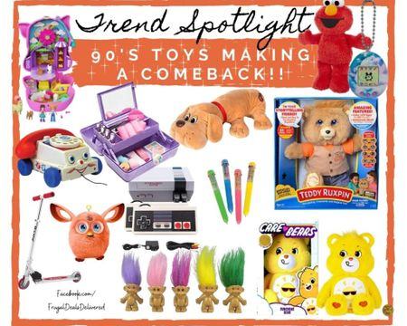 90s toys making a comeback. Did you play with any of these retro toys? Playroom fashion toys style trolls care bears caboodle makeup kit container. Polly pocket, Elmo fisher price and more! Shout out to the moms for Mother's Day! Surprise her with a fun retro gift!   Screenshot this pic to get shoppable product details with the LIKEtoKNOW.it shopping app make sure you follow FrugalDealsDelivered for more ideas and collage inspiration!   http://liketk.it/3dTfE #liketkit @liketoknow.it #LTKfamily #LTKkids #LTKbaby @liketoknow.it.family