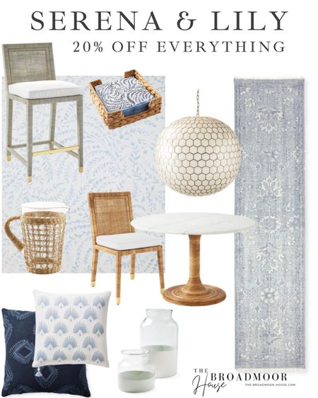 Everything at Serena and Lily is 20% off! They have such amazing pieces and now is a great time to purchase!   Decor, Kitchen Decor, coastal, blue Decor, light blue, dining Furniture, Counter stools, barstools, dining chairs, dining table, breakfast nook, kitchen runner, dining room chandelier, dining room light, bathtub light, rattan, cane, throw pillows, navy blue, neutral Pillows, Neutral Decor  #LTKsalealert #LTKhome #LTKstyletip