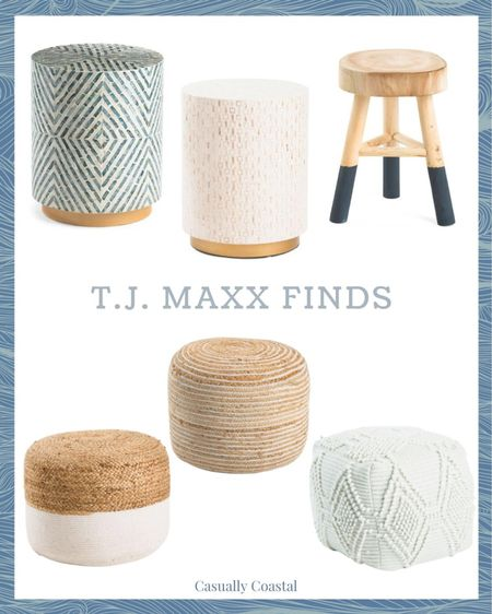 If you're looking for small side tables, poufs or stools, TJ Maxx has some great options right now! - summer decor, summer decorations, summer home decorations, coastal decor, beach house decor, beach decor, beachy decor, beach style, coastal home, coastal home decor, coastal interiors, living room decor, coastal decorating, coastal house decor, home accessories decor, coastal accessories, living room decor, neutral decor, neutral home, blue and white home, blue and white decor, summer accessories, coastal living room decor, coastal family room, poufs, white poufs, textured poufs, inexpensive poufs, jute poufs, beachy poufs, natural poufs, woven poufs, wool poufs, striped pouf, textured decor, textured accessories, Round side table, capiz side table, blue and white side table, coastal side table, white side table, neutral side table, TJ Maxx finds, TJ Maxx home, affordable furniture, affordable decor, decor under $50, furniture under $100