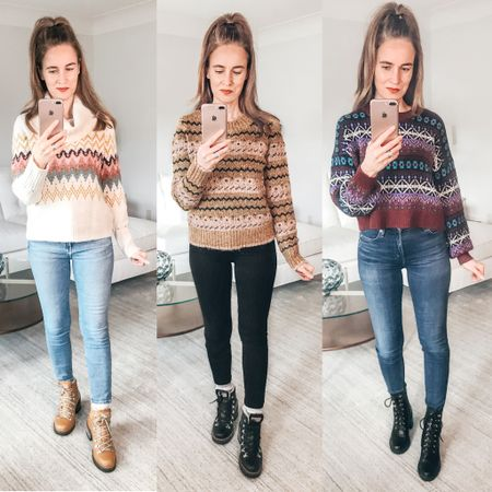 """Fair Isle sweater """"Love"""" - Which is your favorite - 1, 2, or 3?   . . SHOP MY LOOK: 1️⃣ Use this link: http://liketk.it/33Xs4  2️⃣ Download and follow me (@dailystylefinds) on the FREE @liketoknow.it app 3️⃣ Screenshot this photo 4️⃣ Click the link in my profile . . #fairislesweaters #LOFT #LOFTimist #fairisle #LTKunder50 #over40style #fashionover40 #liketkit #hikingboots #combatboots #wintertrends"""
