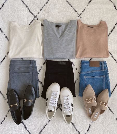 Outfit 1, 2 or 3?  Which would you choose?  Shop this post on the@shop.ltkapp and follow @classyyettrendy on the app! Everything is also linked here ➡️ https://classyyettrendy.com/instagram-shop/  #capsulewardrobe #effortlessstyle #stylehunter #inspofashion #howtowear #mystylediary #flatlayfashion #simplestyling #fashionloverstyle #classicstyle #fashionflatlay #teamlessismore #keepingitsimple #styleoftheday #discoverunder50k #dailylooks #styletips #smartcasual #howtostyle #realoutfitgram #outfitideas4you #lessisworefemales #stylegram #ootdmagazine #simple #fallfashion #neutraltones #simplestyle #explorepage #ootdsituation #cozyoutfit #instastyle  #LTKstyletip #LTKSeasonal #LTKunder50