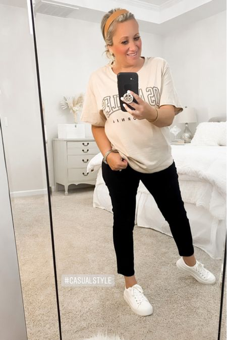 Casual Style. #blackjeans #sneakers #tee  Follow my shop @allaboutastyle on the @shop.LTK app to shop this post and get my exclusive app-only content!  #liketkit #LTKHoliday #LTKstyletip #LTKSeasonal @shop.ltk http://liketk.it/3pYJe