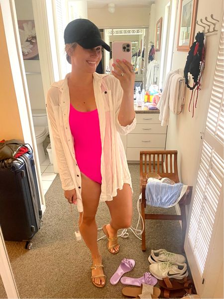 Today's beach look! Swimsuit and coverup are both amazon finds  #LTKunder50 #LTKtravel #LTKswim