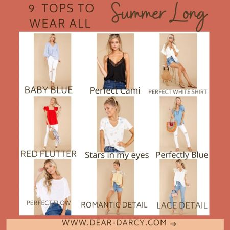 9 Tops you'll wear ALL Summer long! . These tops are perfect addition to your Summer wardrobe….perfect with shorts, jeans, pants and skirts… you'll wear them on repeat! . Easy to wear, easy to style… that how I like my Summer wardrobe 🌸🦋🛍 . .  Shop my daily looks by following me on the LIKEtoKNOW.it shopping app Screenshot this pic to get shoppable product details with the LIKEtoKNOW.it shopping app http://liketk.it/3h1vi #liketkit @liketoknow.it #LTKunder50 #LTKstyletip #LTKtravel