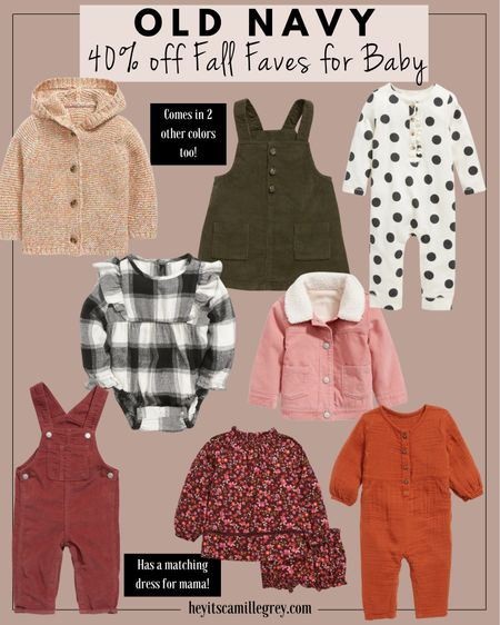 Old Navy 40% off Fall Faves for Baby girl!  Corduroy skirt overalls, polka dot jumpsuits, plaid bodysuits, floral matching outfit, Sherpa trucker jacket    #LTKHoliday #LTKbaby #LTKSeasonal