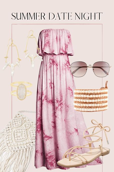 Summer date night outfit, tie dye maxi dress, summer outfit, macrame bag, Amazon finds http://liketk.it/3ihka @liketoknow.it #liketkit #LTKunder50 #LTKunder100