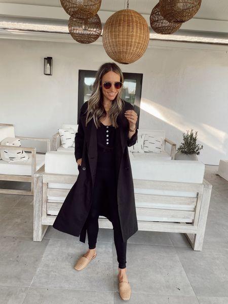 Black trench coat (wearing my regular size) from my fall wardrobe essentials  Washable silk Henley  Black leggings  Woven mules (run tts)    #LTKstyletip
