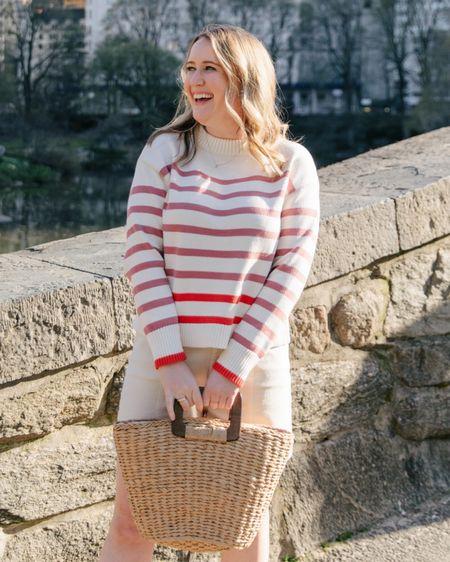 Ann Taylor striped sweater and straw tote on sale @liketoknow.it http://liketk.it/3gXNl #liketkit #LTKsalealert
