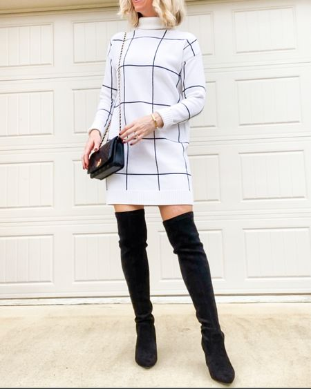 """Cutest Sweater Dress!   I've had my eye on this  sweater dress and it doesn't disappoint!  This is so cute and cozy and would look great for Fall or Holiday Family Photos!    Wearing XS/S and fits true to size.  I'm 5'3"""" for reference and love the length especially with my over the knee boots. You could also wear with a belt, booties and even over leggings .        Sweater dress , fall outfits , fall dresses , Chicwish , amazon fashion , amazon finds , over the knee boots , crossbody bag , purse , holiday dress , Christmas dresses , Holiday outfit #ltkworkwear #ltkholiday #ltkitbag #ltkunder100 #ltkshoecrush #ltkstyletip  #LTKsalealert #LTKunder50 #LTKeurope"""