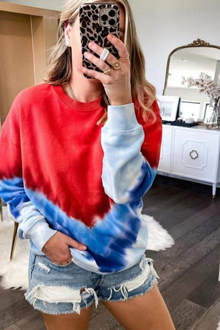 The perfect pullover for the Fourth of July weekend and it's on sale for $19! I sized up one size to a medium!   #LTKstyletip #LTKsalealert #LTKunder50