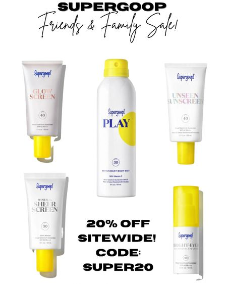 Supergoop is having a 20% off Friends & Family sale on all of their sunscreen products! 🙌🏼☀️ Use code: SUPER20 at checkout!  #sunscreen #spf #beautyproducts #sale #beauty #primer #sunscreenmist #supergoop   #LTKunder50 #LTKSale #LTKbeauty