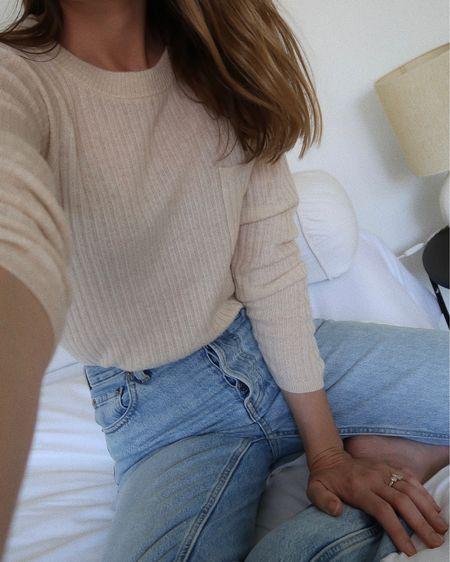 Lightweight cashmere-blend sweater + high rise jeans. 🤍  #LTKhome #LTKSeasonal #LTKstyletip