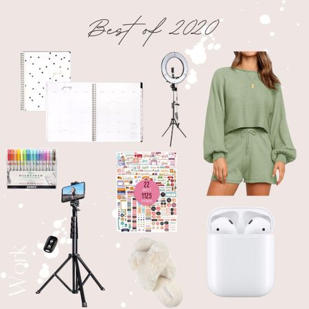 My work essentials! 🤍 Planner, lounge set, ring light, tripod, AirPods, stickers, markers, and of course fuzzy slippers! |amazon, amazon fashion, amazon find, amazon picks|  #StayHomeWithLTK #LTKNewYear #LTKhome