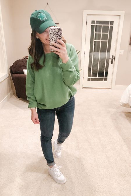 Avoided the pinches today in this green sweatshirt! Do you guys remember the days when St. Patrick's Day was THE day of the year! So many college memories of mine revolve around this day! Now I just wear green and add a something extra to show some spirit and hope to maybe get to drink a beer. 😆 I sure do feel like a lucky lady though! So many blessings to count! Happy St. Patrick's Day!!   http://liketk.it/3aKki #liketkit @liketoknow.it   Shop my daily looks by following me on the LIKEtoKNOW.it shopping app