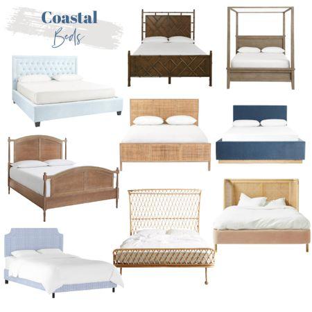 Coastal beds, wood beds, upholstered beds, blue beds, white beds, cane beds, driftwood beds, Pottery Barn beds, Serena and Lily beds    #LTKhome #LTKsalealert #LTKunder100