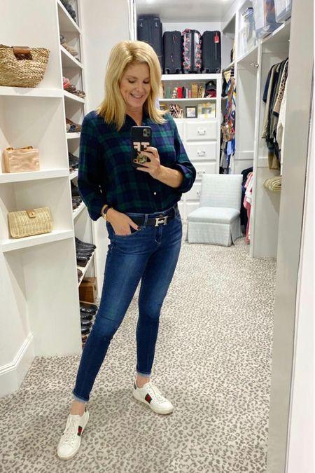 Perfect fall weekend look! Wearing a size 2 flannel     #LTKstyletip #LTKSeasonal
