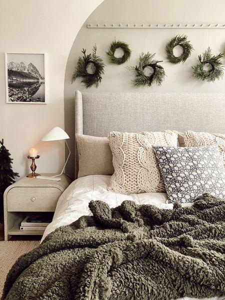 Bedroom holiday decor, mini wreath   #LTKhome #LTKHoliday #LTKSeasonal