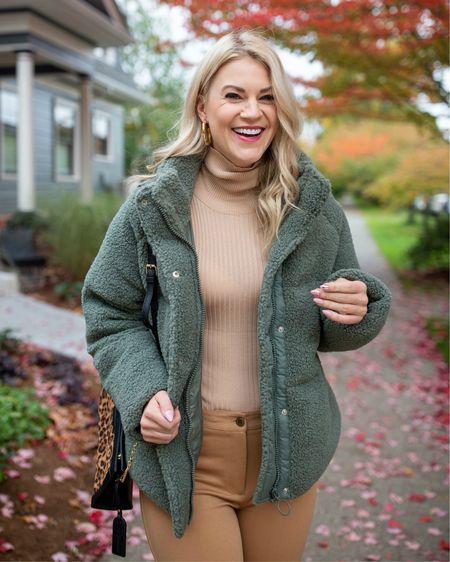 Sherpa coat, fleece jacket, turtleneck, springs outfit, cozy style @liketoknow.it http://liketk.it/3925e #liketkit #LTKunder100 #LTKstyletip #LTKunder50