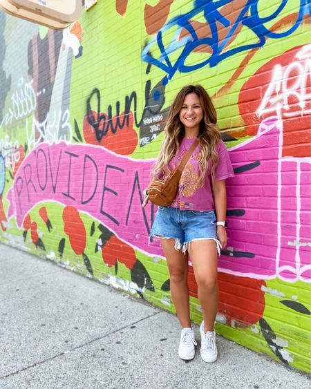 Def Leppard cropped tee Abercrombie curve love boyfriend jean shorts  White nikes Fanny pack/bum bag Jewelry Sunnies  All linked on @liketoknow.it    http://liketk.it/3hQXT #liketkit #LTKitbag #LTKtravel #LTKunder50   Forever 21  Band t-shirt  Amazon find  Vacay style
