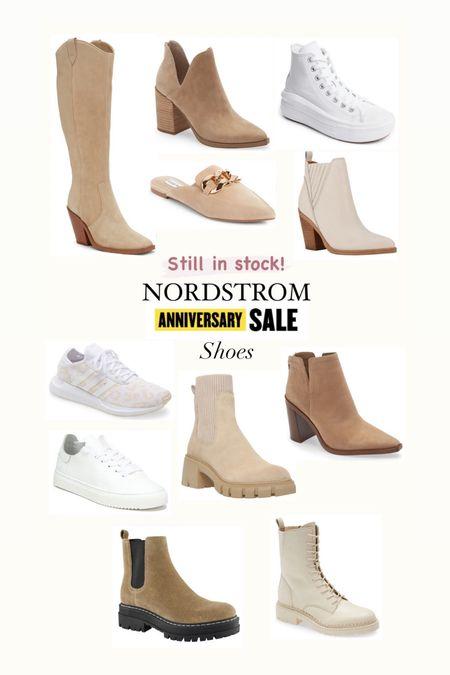 Nordstrom anniversary sale Shoes still in stock  Boots Vince camuto  Steve Madden mules  Adidas sneakers  OTK boots Marc Fisher  Converse  Fall booties   #LTKunder100 #LTKshoecrush #LTKsalealert