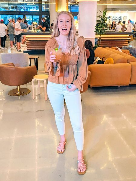 Wear this casual outfit out for food and drinks with your friends! Light brown Pink Lily top and white skinny jeans from Abercrombie make the perfect pairing. Stud sandals complete the look.   #LTKSeasonal #LTKstyletip #LTKunder50