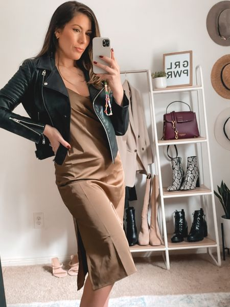 Silky olive green midi slip dress paired with a faux leather jacket is my kind of fall styling 🙌🏼🙌🏼 Amazon style finds, Amazon dress  #LTKstyletip #LTKSeasonal #LTKunder50