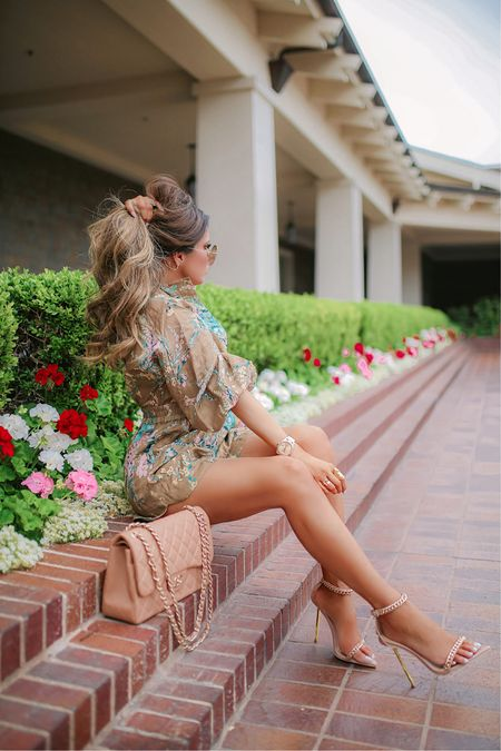 http://liketk.it/3fKIb #liketkit @liketoknow.it  Chanel, heels, best heels, wedding guest dress, beach vacation, summer dress, floral romper, cute rompers, summer fashion, Emily Ann Gemma, romper