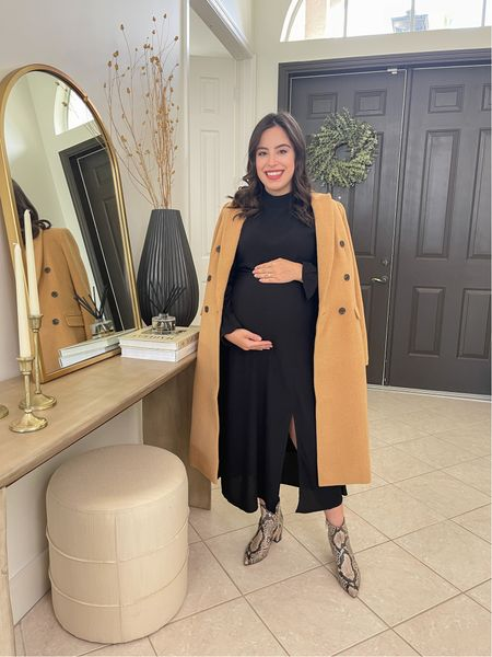 Camel wool coat, black midi dress and snake booties! Perfect fall look. These pieces are all maternity friendly and 50% off  Maternity style / fall outfit / fall style / bump style / loft    #LTKstyletip #LTKbump #LTKSeasonal