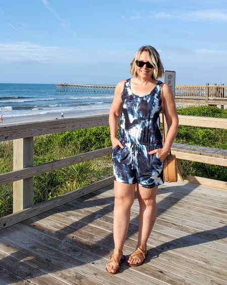 Casual affordable summer tie dye one piece romper set perfect for pool, beach, everyday life, or dressed up for a night out #teacher #romper #tiedye #onepiece #navyblue #mom #petite #affordable #amazon #simplestyle #strappysandals #raybans #beach #lifestyle http://liketk.it/3gWj4 @liketoknow.it #liketkit