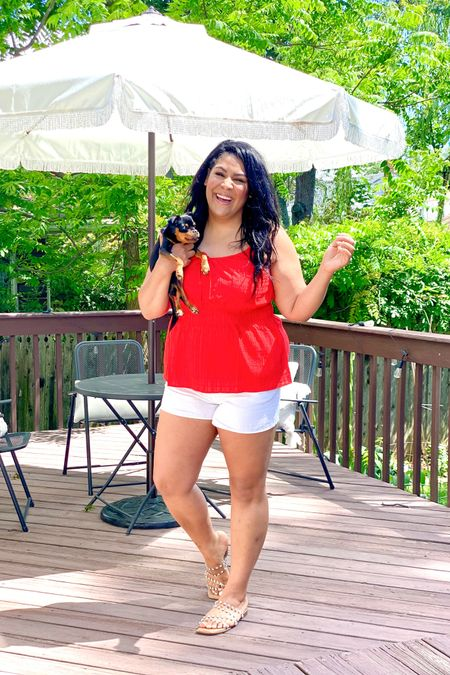 Memorial Day or 4th of July outfit! Lane Bryant top is on sale for 40% off making is $22 (12) and shorts are only $15, make sure to get normal size! #liketkit http://liketk.it/3gxZ1 @liketoknow.it #LTKsalealert #LTKstyletip #LTKcurves   midsize, mid size, plus size, red too, white shorts, linen shorts, summer outfit, summer outfit idea, vacation outfit, festive outfit, USA, Fourth of July, patriotic outfit, patio furniture