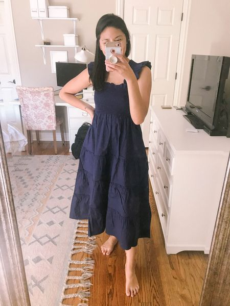 Best dress ever - a smocked dress know as the nap dress. It runs big so size down. I'm wearing XS and I'm usually a Small. It's so flattering and extremely comfortable. It's bump friendly dress and breastfeeding friendly dress. It's been my favorite postpartum outfit. // Ellie nap dress.   #LTKSeasonal #LTKstyletip