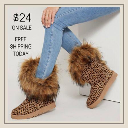 Fuzzy ankle booties  #LTKshoecrush #LTKunder50 #LTKstyletip