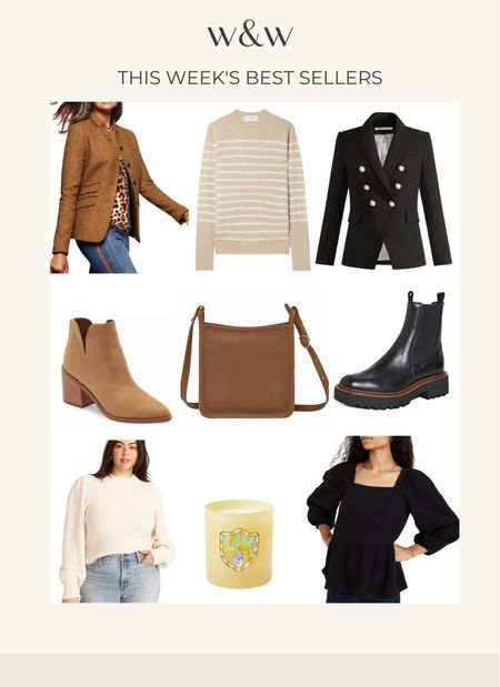 This week's bestsellers!  Chic blazers Striped sweater Cashmere sweater Boots Ankle booties Madewell top Fall candle Longchamp crossbody bag  #LTKSeasonal