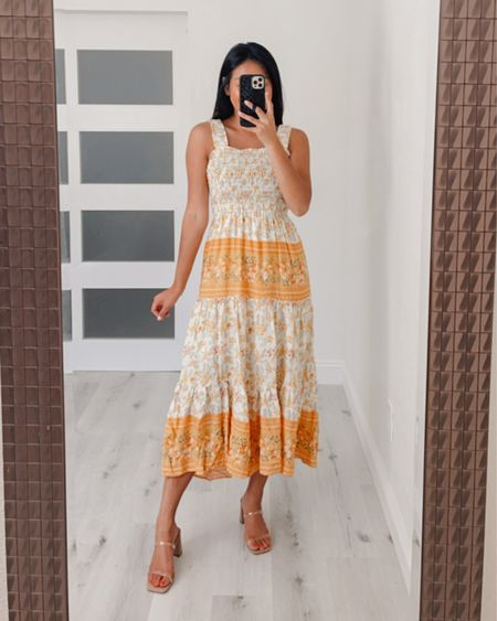 Yellow maxi dress! Love the floral details of this dress and smocked top. Wearing size small in dress and 7 in heels   #LTKshoecrush #LTKstyletip #LTKunder100