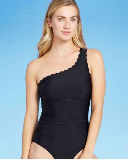 Black, scalloped one piece swimsuit http://liketk.it/3iXJn #liketkit @liketoknow.it