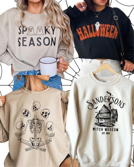 Oversized fall sweatshirt Halloween crew neck Sanderson sisters Spooky season Halloweentown Skeleton sweatshirt Fall cozy vibes   #LTKunder50 #LTKSeasonal #LTKstyletip