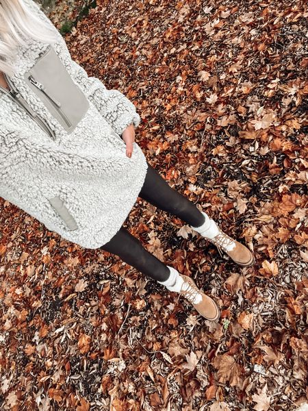 Fall cozy outfits Boots for fall waterproof  Fuzzy Sherpa pullover Spanx faux leather leggings    #LTKstyletip #LTKSeasonal