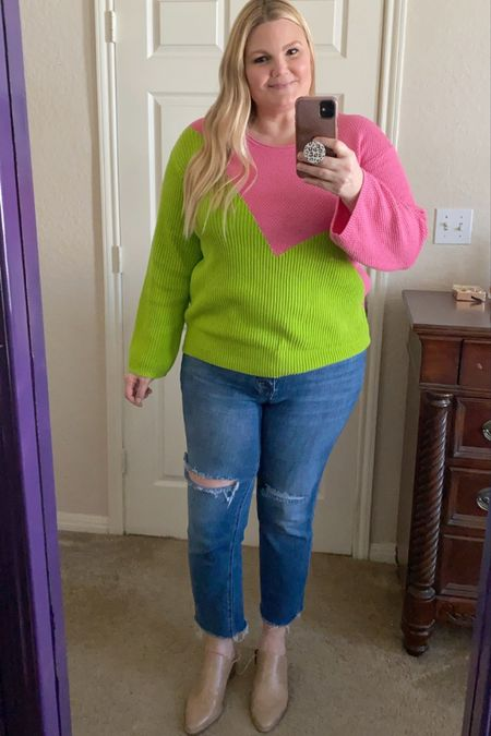 Target x Victor Grimaud sweater in neon. Fits true to size. Size down in jeans if between sizes. Mules fit true to size.   #LTKstyletip #LTKunder50 #LTKshoecrush
