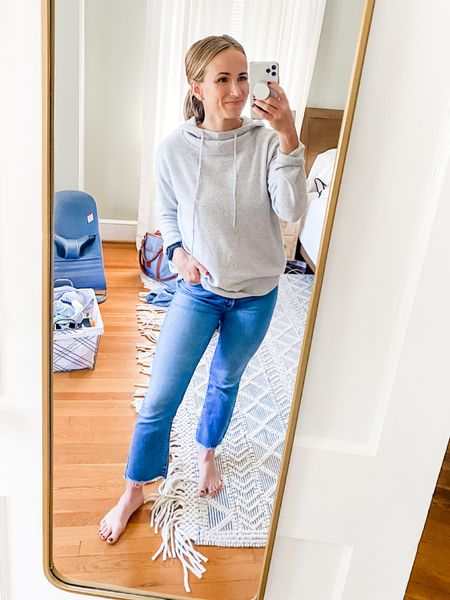 This cashmere hoodie is EVERYTHING 🙌🏼 so freaking soft and even looks cute with jeans— and these jeans get an honorable mention too. The best cropped straight leg jeans (TTS)!   #LTKSeasonal #LTKstyletip