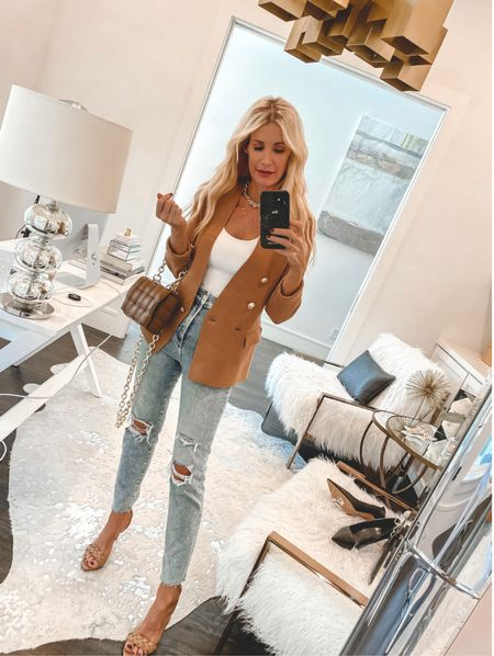 SALE ALERT!! Because you can never go wrong with a simple blazer and a really good pair of jeans!   This blazer is made of knit material so it's crazy soft and I love the lux gold buttons! It comes in 3 colors and looks way more expensive than it really is. It runs tts, I'm wearing an XS.   PS - my bodysuit, jeans, and heels are each under $100!   Follow my shop on the @shop.LTK app to shop this post and get my exclusive app-only content!  #liketkit #LTKshoecrush #LTKunder100 #LTKstyletip @shop.ltk http://liketk.it/3nOfw