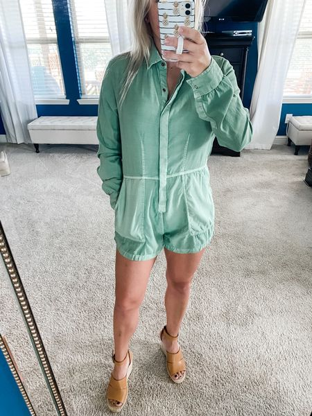This romper is giving me all the summer 👉🏼 fall vibes! It's got pockets (always a bonus), it's comfy, and it's flattering!   #LTKstyletip #LTKunder100 #LTKSeasonal