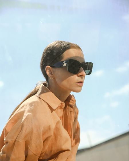 Summer envy Sorbet color linen shirt by Bondy Beach and Green tortoise shades by Lanvin  http://liketk.it/3h9SE #liketkit @liketoknow.it  #luxury #eyewear #sumglasses #lanvin #fashioneditorial #luxurysunglasses #chic #cateye #vintagesunglasses #tortoisesunglasses