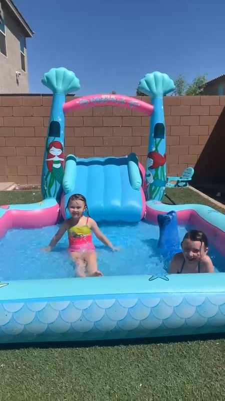 Fun in the sun at home with our blowup mermaid pool and slide combo! Great for backyard family time.   #LTKkids #LTKunder50 #LTKhome
