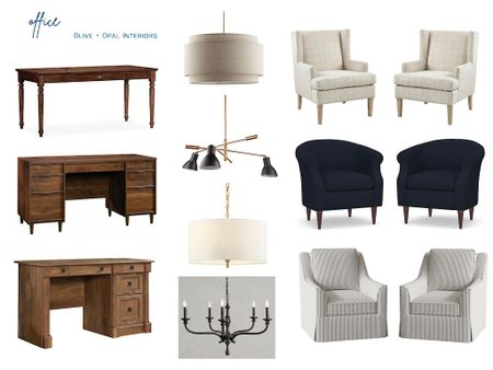 Office furniture ideas, including a traditional desk, updated lighting and a pair of accent chairs.  #LTKhome