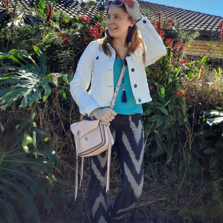 Double denim with blush pink and turquoise 💙💕 layered up this bright turquoise tank with my Cotton On white denim jacket and contrasting denim with the Sass and Bide playman chevron print skinny jeans 💙 The blush pink Rebecca Minkoff small Darren Messenger bag was a good accessory and way to add more colour too. 💕 Easy outfit for a cooler autumn day the other week with the school run, errands, sports and dropping off some things at the opshop.  ---------------- ----------------------- ------------------------ -----------------   Screenshot this pic to shop the product details from the @liketoknow.it app, or click here: http://liketk.it/3gLNK #liketkit #LTKitbag #doubledenim #realeverydaystylepic #everydaystyle #everythingLooksBetterWithABag #RebeccaMinkoff #RebeccaMinkoffDarren #myRM #sassandbide #wearedonthestreet #realmumstyle