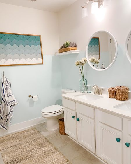 SUNDAY FUNDAY 🤩 consisted of a little bathroom refresh for my kiddos!   I love a good before and after 🥳   I haven't touched the kids bathroom since we moved in almost two years ago 😏 and I was itching for a little project that wouldn't break the bank and would provide a little creative outlet for me.   I'm not entirely in love with the paint color but I do think 💭 I like the scallop design which Lilli got to help me with. It's good for now 🤪   We got our nightstands in from @potterybarn Saturday and our other furniture should come in within a month/month & a half. Plenty of time to paint and finalize designs in the master 😍 I'll keep you guys posted along the way!   I'll post all accessories from their bathroom redo on my @liketoknow.it app for any of you who might be up for a bathroom refresh as well 😎  #ltkseasonal #competition #home #design #diy #art #decor #creative #diymom #homedecor #fun #color #smallbusiness #instagram #interior #instagood #handmade #inspiration #diycrafts #decoration #love #explorepage #homemade #homesweethome #mom #interiordesign #whilethekidsplay #thegadabouter   http://liketk.it/3fYDV #liketkit   Shop your screenshot of this pic with the LIKEtoKNOW.it shopping app 🛍