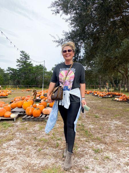 Pumpkin patch outfit Spanx faux leather leggings size medium Billabong women's graphic t-shirt  Denim button up  Sorel boots tts  #LTKSeasonal #LTKunder100 #LTKshoecrush