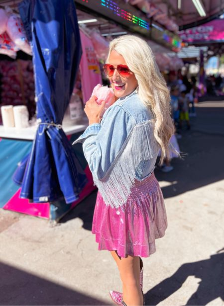 Fair day!  Concert outfit, fair outfit  Pink shimmer shorts - size M similar colors linked - from @shopdearhannah in dallas!  Fringe western crop jacket - size L.  Black lace tank size M.  Cowboy boots - linked other options.  Pink aviator sunglasses  Pink bracelet stack  Halloween costume, Nashville outfit, Halloween inspo, Dolly Parton costume   #LTKunder50 #LTKstyletip #LTKSeasonal